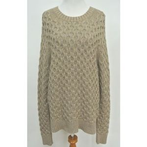 J Crew XL Gold Metallic Cable Sweater New